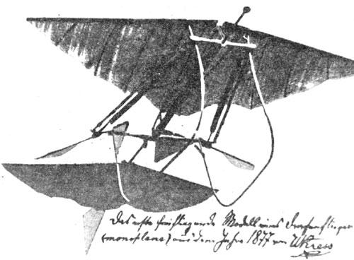 W. Kress leta 1877 izdela model Aeroveloce
