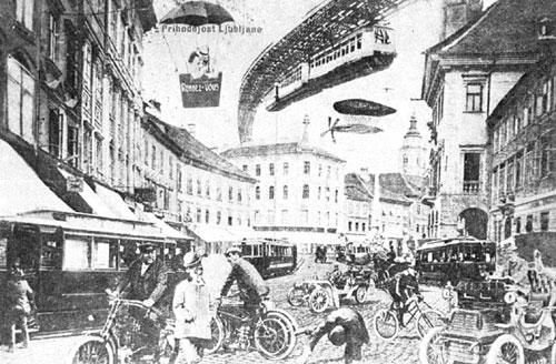 Ljubljana v prihodnosti iz leta 1907.